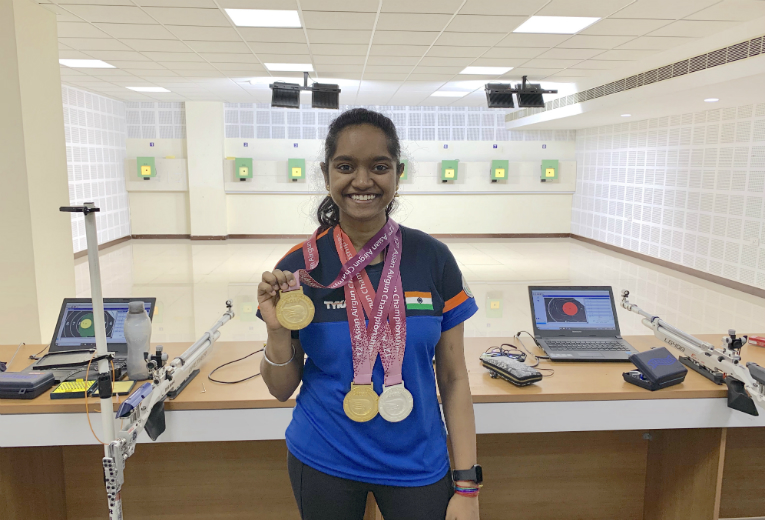 Gold medal for Champion Shooter Elavenil Valarivan at the 12th Asian Airgun Championship