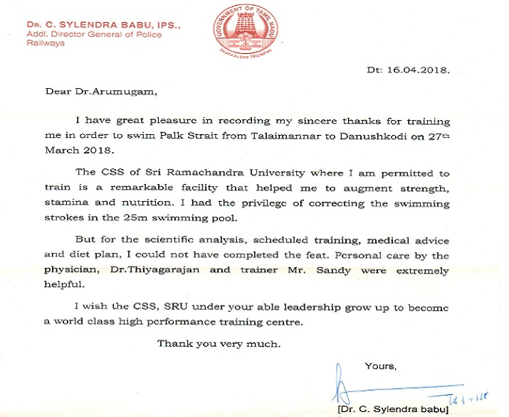 Appreciation Letter from Dr C Sylendra Babu, IPS to CSS