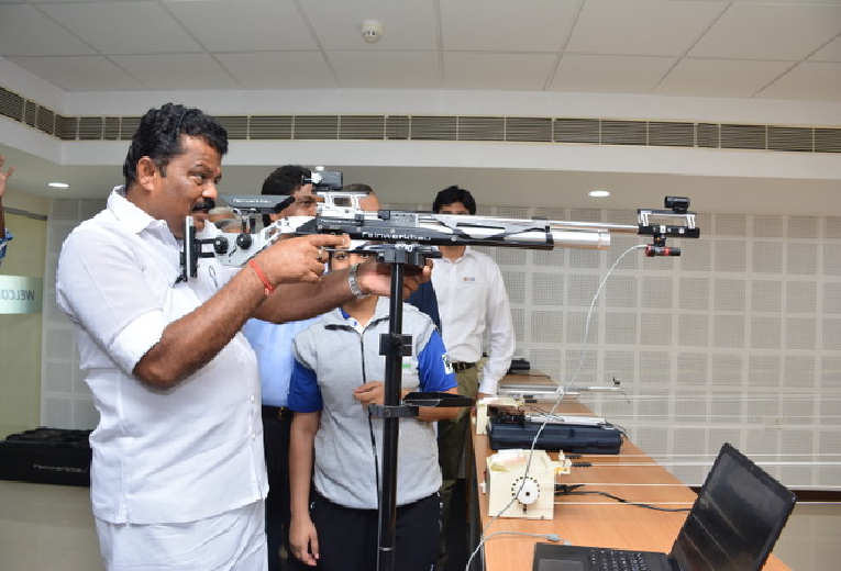 Hon'ble Minister at the 10m Shooting Range