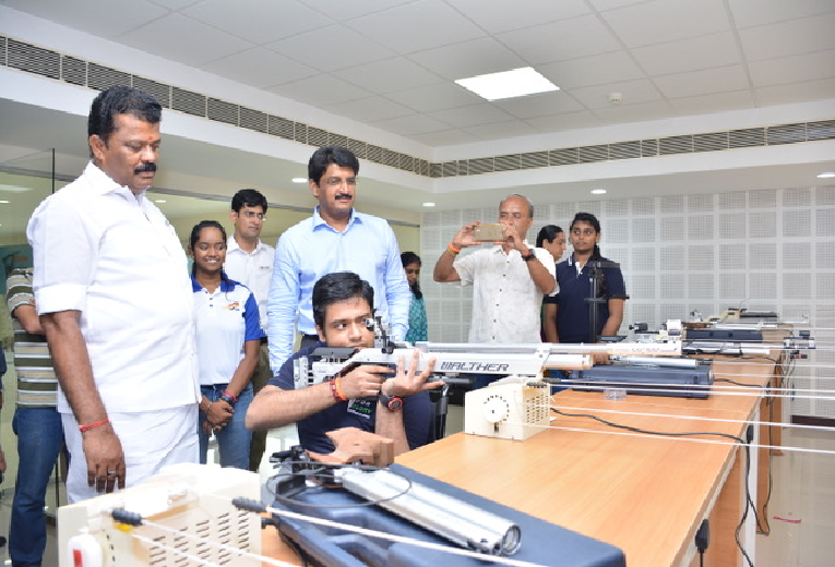 Hon'ble Minister at the 25m Shooting Range