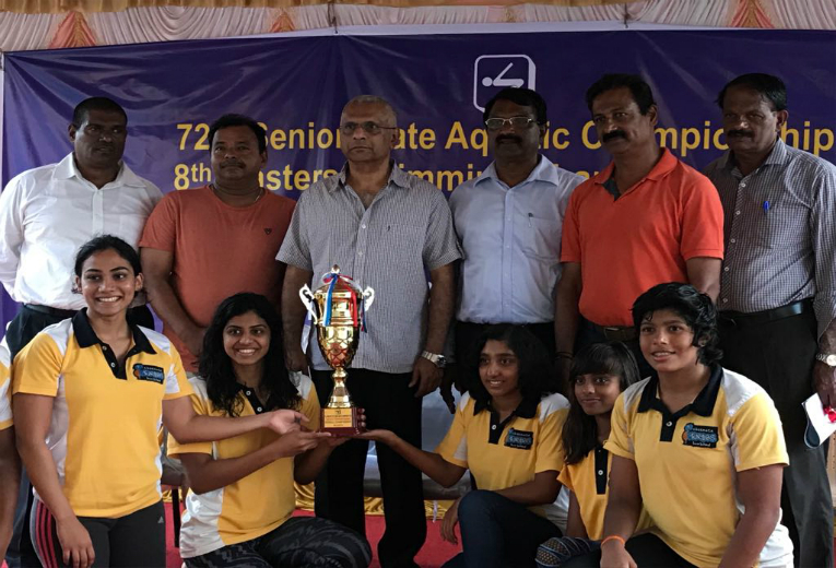CSS swimmers Jayaveena Vijay and Nivya Raja rock the Senior State Aquatic Championship with a flurry of Gold medals