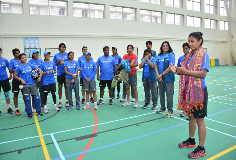 Captain Mithali Raj addressing the team and appreciating the World Class Facility at CSS