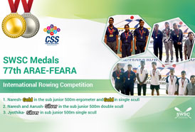 CSS congratulates SWSC's Champion Rowers on winning medals at the 77th ARAE-FEARA International Rowing Competition, Pune, 2019