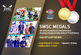 SWSC Rowers win medals at the All India Invitational School Indoor Rowing Championship at Pondicherry
