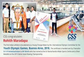 CSS congratulates Rohith L Maradapa who got selected as a Young Change Maker by the International Olympic Committee