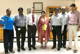 Team CSS felicitating Ms Bhavani Devi, Sabre Fencer from Chennai, Gold Medal winner at the Satellite World Cup held in Reykjavik, Iceland