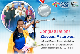 Elavenil wins sliver in the mixed team event at the Asian Airgun Championships 2019
