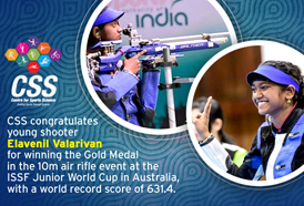 Young shooter Elavenil Valarivan won a Gold Medal in the 10m air rifle event at the ISSF Junior World Cup in Sydney, Australia