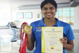 Jayaveena wins Gold at the 73rd Senior State Aquatic Championships 2019