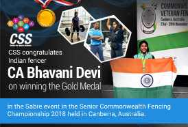 Indian fencer CA Bhavani Devi won a  Gold Medal in the Sabre event in the Senior Commonwealth Fencing Championship 2018 held in Canberra, Australia