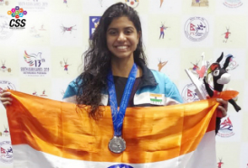 Swimmer Jayaveena Vijay wins silver medal in 50m breaststroke category at the South Asian Games held in Nepal