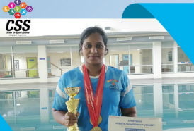 CSS staff Srilekha won 4 Golds & Individual Championship in the Sport India Aquatic Championship