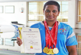 CSS Staff Srilekha bagged 4 golds at the 9th Master State Swimming Championships 2019